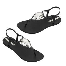 Ipanema Leaf Shine Sandal with T-bar Strap - Black