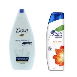 Dove Deeply Nourishing Body Wash - 500ml & Head & Shoudlers Anti-Dandruff Repair & Care Shampoo - 25