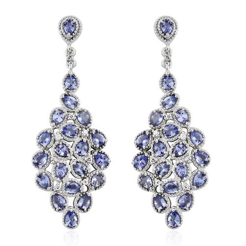 Tanzanite (Pear), Natural Cambodian Zircon Cluster Earrings (with Push Back) in Platinum Overlay Ste