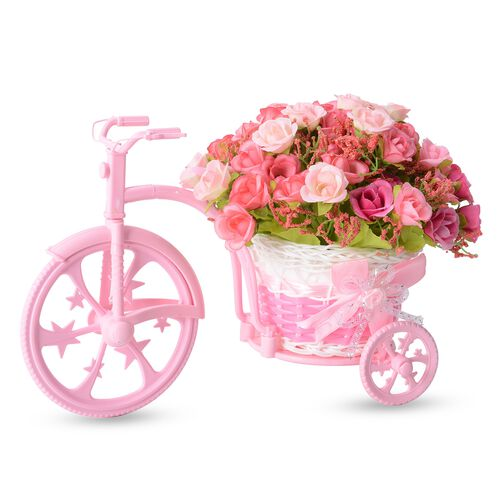 Home Decor - Nostalgic Bicycle with Artificial Flower Decor Plant Stand (Size 26x13x18 cm) - Colour Light and Dark Pink