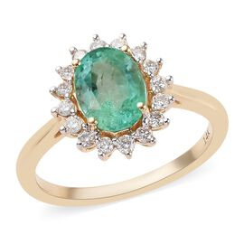 1.25 Ct AA Boyaca Colombian Emerald and Diamond Halo Ring in 14K Gold 2.51 Grams