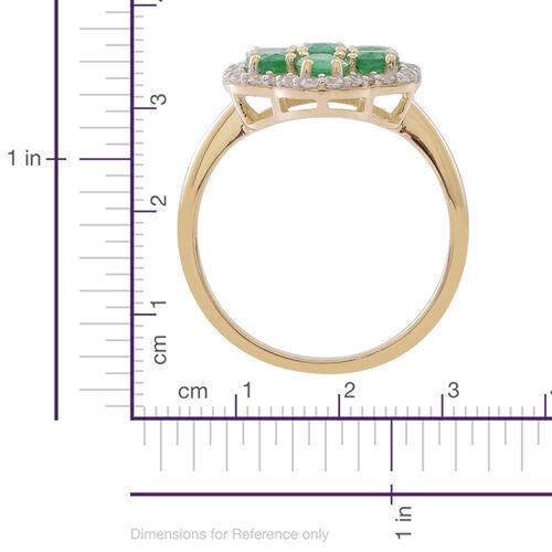 9K Yellow Gold AA Kagem Zambian Emerald (Ovl), Natural White Cambodian Zircon Ring 2.750 Ct.