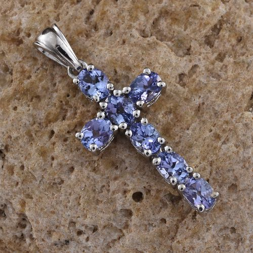 Tanzanite (Ovl) Cross Pendant in Platinum Overlay Sterling Silver 1.250 Ct.