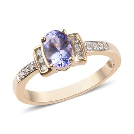 1 Carat Tanzanite and Natural Diamond Solitaire Ring in 9K Gold I3 GH
