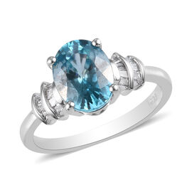 Ratanakiri Blue Zircon and Diamond Ring in Platinum Overlay Sterling Silver 3.00 Ct.