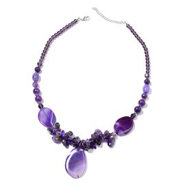 570 Ct Purple Agate and Multi Gemstone Beaded Necklace 28 with 3 inch Extender