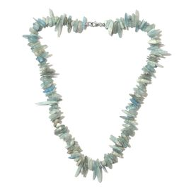 Espirito Santo Aquamarine Necklace (Size 20) with Lobster Lock in Rhodium Overlay Sterling Silver 35