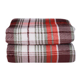 Check Pattern Flannel Sherpa Blanket (Size 200x150cm) - White, Red and Multi Colour