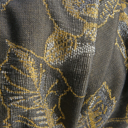 Designer Inspired- Black and Golden Colour Lurex Shawl (Size 185x70 Cm)