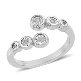 Diamond Bypass Design Ring in Platinum Plated Sterling Silver