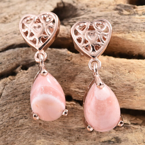 Australian Pink Opal (Pear) Heart Earrings (with Push Back) in Rose Gold Overlay Sterling Silver 2.000 Ct.