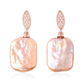 Baroque Pearl and Natural Cambodian Zircon Earrings (with Push Back) in Rose Gold Plated Sterling Si