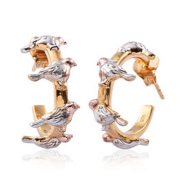 Platinum, Rose and Yellow Gold Overlay Sterling Silver Robin Bird Earrings (with Push Back), Silver