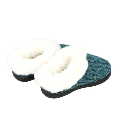 Knitted Slippers with Faux Fur (Size M: 5-6) - Green