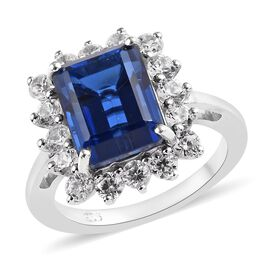5.50 Ct Minas Gerais Twilight Quartz and Zircon Halo Ring in Platinum Plated Silver