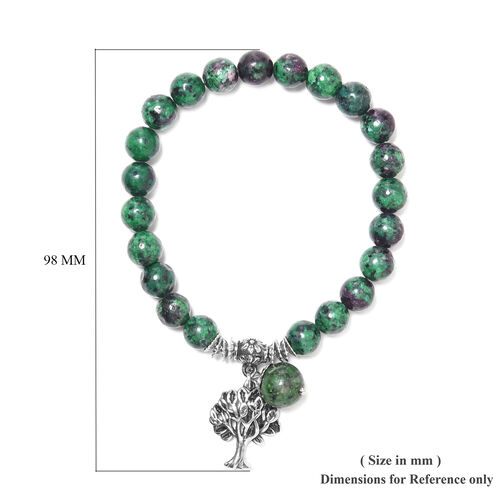 Ruby Zoisite Tree of Life Beads Stretchable Bracelet (Size 7-7.5) in Stainless Steel 77.00 Ct.
