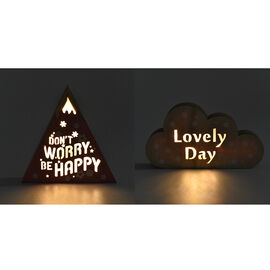 Set of 2 - Wooden Decorative Yamagata and Cloud Light  (Size 20x11x2.8) - Pink and Burlywood (Batter
