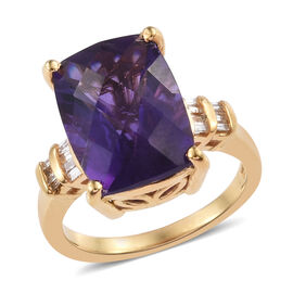 6.25 Ct Zambian Amethyst and Diamond Solitaire Design Ring in Yellow Gold Plated Sterling Silver