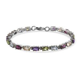 Multi Gemstones Bracelet (Size 7) in Stainless Steel 8.90 Ct.