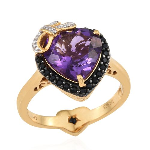 GP Amethyst (Hrt 5.15 Ct), Boi Ploi Black Spinel and Kanchanaburi Blue Sapphire Ring in Black Rhodium and 14K Gold Overlay Sterling Silver 5.500 Ct.