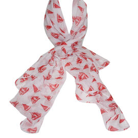 Lightweight Cream and Red Bubble Print Scarf (160x85cm)