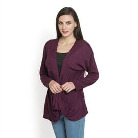 Burgundy Colour Long Neck Pattern Cardigan (Size Medium / Large)