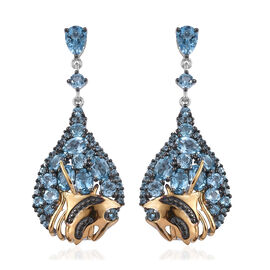 GP Swiss Blue Topaz (Ovl and Rnd), Kanchanaburi Blue Sapphire Earrings (with Push Back) in Black, Pl