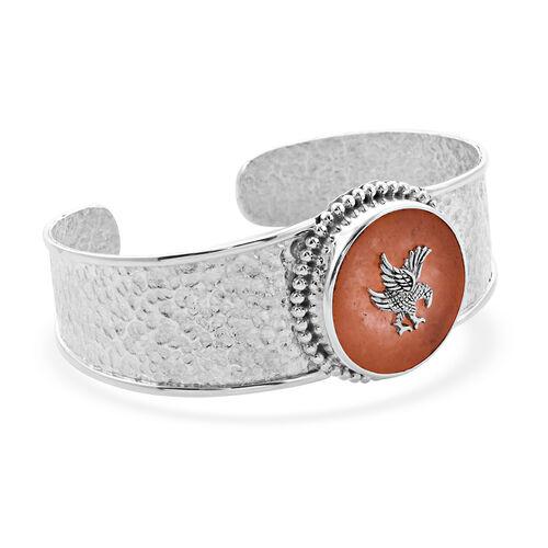 Royal Bali Collection - Orange Jade Garuda Cuff Bangle (Size 7.5) in Sterling Silver 6.00 Ct, silver wt. 25.00 Gms