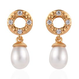 Freshwater Pearl and Natural Cambodian Zircon Earrings (with Push Back) in 14K Gold Overlay Sterling