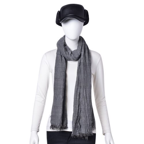 Dark Grey Colour Scarf (Size 200X62 Cm) with Free Black Colour Hat