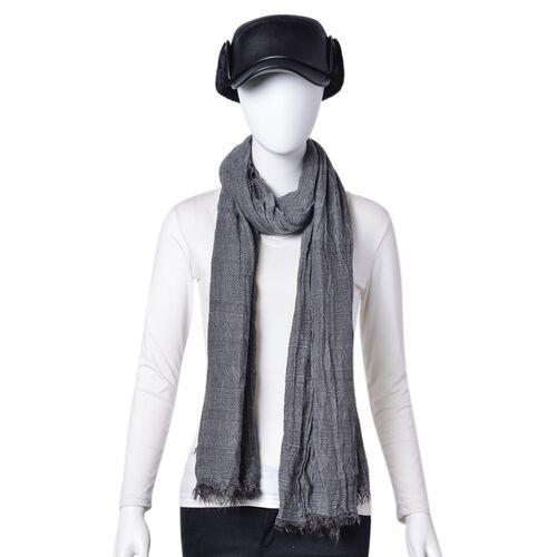 Dark Grey Colour Scarf (Size 200X62 Cm) with Free Black Colour Hat