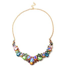 Multi Colour Austrian Crystal, Simulated Multi Colour Gemstone Necklace (Size 23) in Yellow Gold Ton