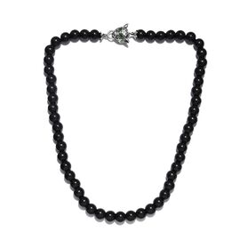 Monster Deal- Shungite (Rnd 10mm), Russian Diopside Leopard Head Beads Necklace (Size 20) in Sterlin