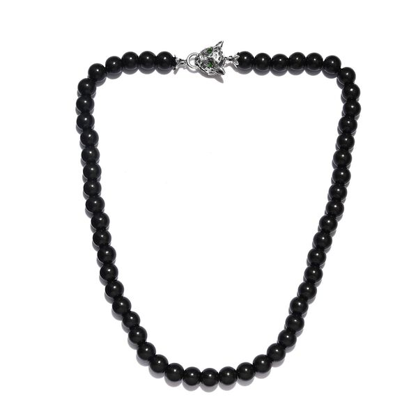249.98 Ct Shungite and Russian Diopside Leopard Head Beaded Necklace in Sterling Silver 20 Inch