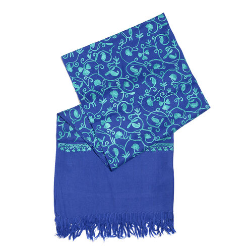 100% Merino Wool Dark and Light Blue Colour Paisley and Leaves Embroidered Shawl with Tassels (Size 180X68 Cm)