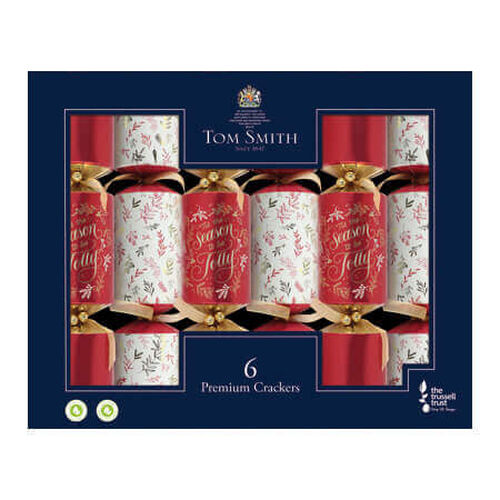 Tom Smith Premium Red & Gold Christmas Crackers x 6