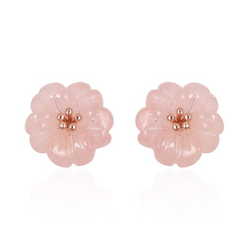 JARDIN COLLECTION - Hand Carved Flower Morganite Stud Earrings (with Push Back) in Rose Gold Overlay Sterling Silver 9.250 Ct