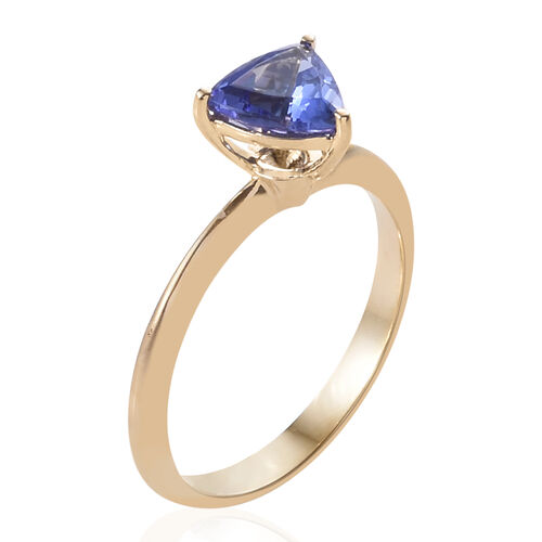 Close Out Deal- 14K Yellow Gold AA Tanzanite (Trl 6.5 mm) Solitaire Ring 1.000 Ct.