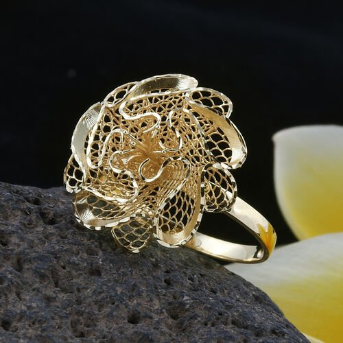 Premium Collection- Royal Bali Collection Handwoven 9K Yellow Gold Flower Ring