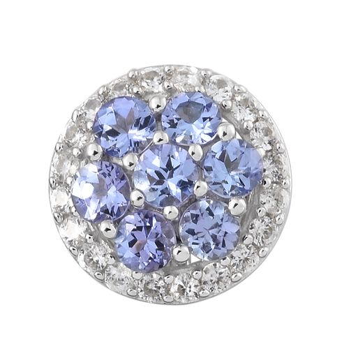 1.35 Ct AA Tanzanite and Natural Cambodian Zircon Cluster Pendant in 9K White Gold