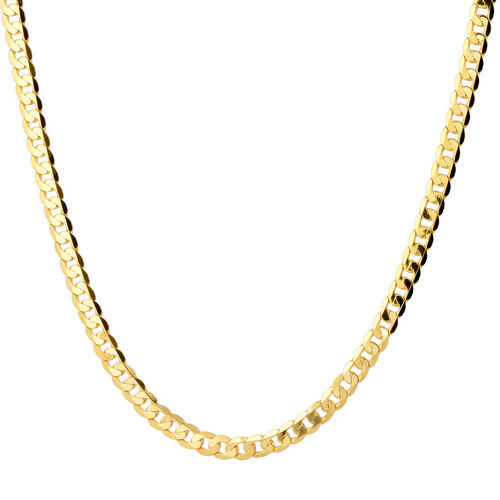 9K Yellow Gold Diamond Cut Curb Chain (Size 20) with Lobster Clasp,  Gold wt 12.10 Gms