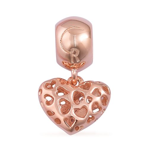RACHEL GALLEY Rose Gold Overlay Sterling Silver Lattice Heart Pendant/Charm