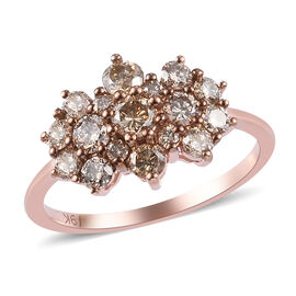 9K Rose Gold SGL Certified Champagne Diamond (I3) Cluster Ring  1.00 Ct.