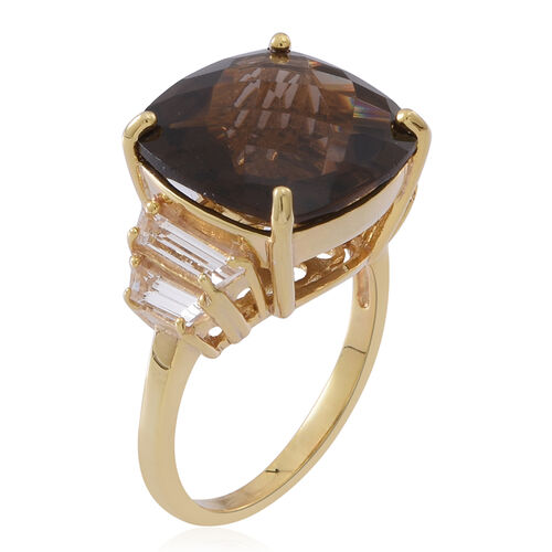 Brazilian Smoky Quartz (Cush 10.00 Ct), White Topaz Ring in 14K Gold Overlay Sterling Silver 11.000 Ct.