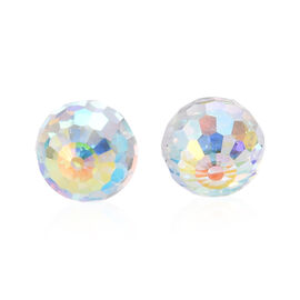 J Francis - Crystal from Swarovski AB Crystal Stud Earrings (with Push Back) in Sterling Silver