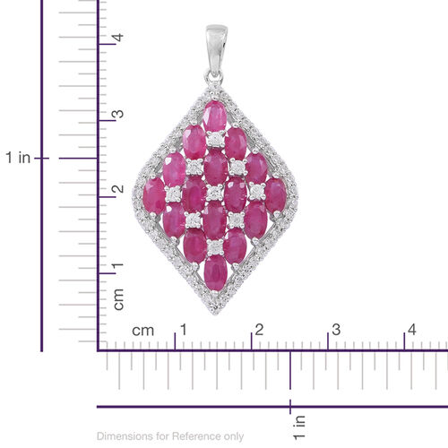 9K White Gold AAA Burmese Ruby (Ovl), Natural White Cambodian Zircon Pendant 6.750 Ct.