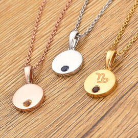 Personalised Mini Disc Zodiac Birthstone Necklace