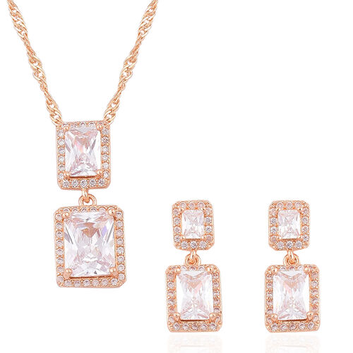 Simulated Diamond Pendant With Chain (Size 18 with 1.5 inch Extender) and Earrings (with Push Back) in Yellow Gold Tone