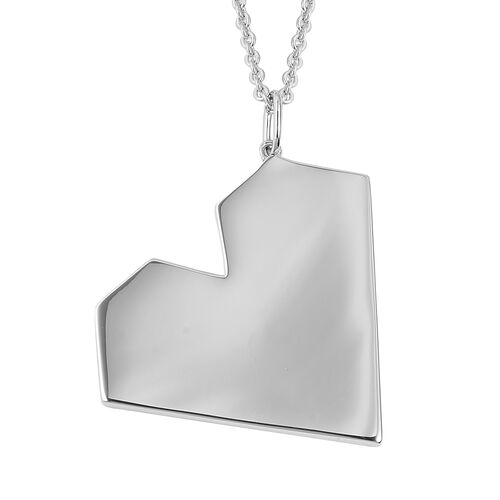 RACHEL GALLEY Heart Pendant With Chain in Rhodium Plated Sterling Silver 21.09 Grams Size 30 Inch