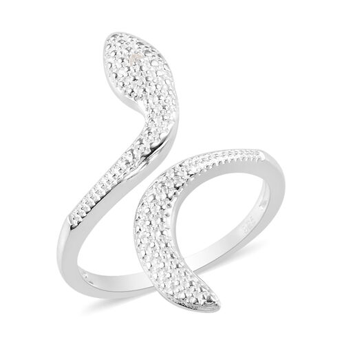 Diamond Snake Bypass Ring in Sterling Silver